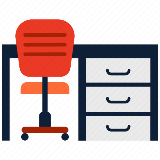 chair, furniture, office, table icon