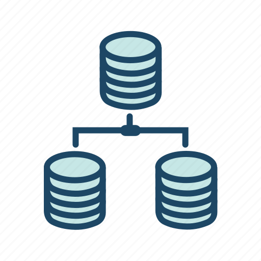 bigdata, data server, database communication, distributed computing, distributed database icon