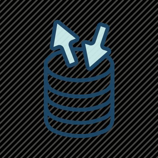 data center, data flow, data transfer, database server, network, transaction icon