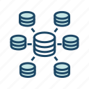data source, database network, distributed computing, distributed data, distributed database icon