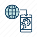 global communication, internet, mobile communication, mobile data transfer, web settings icon