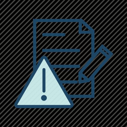 document error, error log, problem, report, warning icon