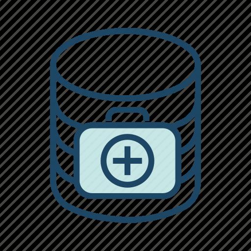 healthcare database, healthcare server, medical database, medical server, patient information icon