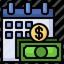 calendar, salary, cash, money, dollar