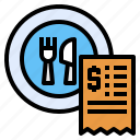 bill, dish, invoice, payment, receipt, restaurant
