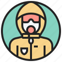 chemical, protection, safety, suit, toxic icon