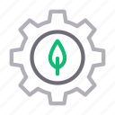 bio, cogwheel, energy, green, leaf icon