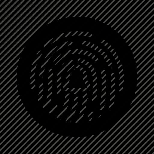 alarm, alert, bell, fingerprint, scan, secure, security icon