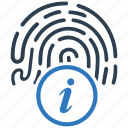 biometric, fingerprint, info, instruction icon
