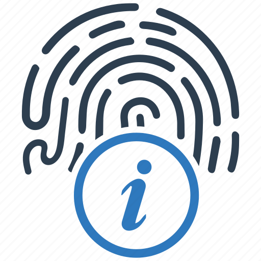 biometric, fingerprint, info, instruction icon