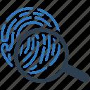 biometric, fingerprint, magnifying glass, scan