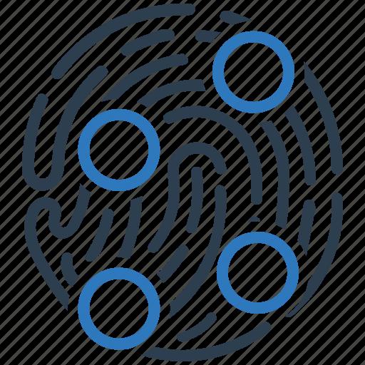 finger, fingerprint, identity, print, protection, security, unique points icon