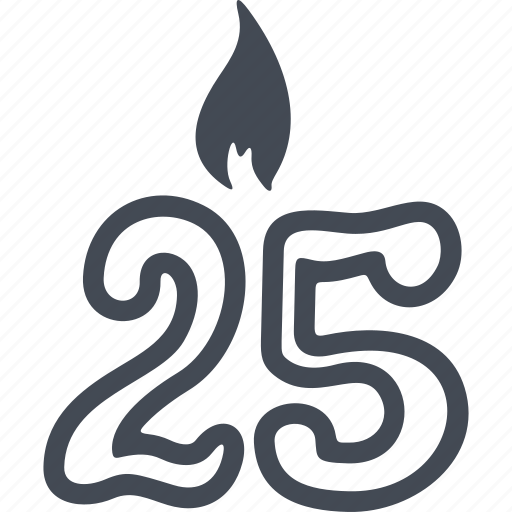 birthday, cake, candle, celebration, decoration, party, twenty five icon