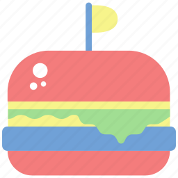 birthday, bread, burger, celebrate, congratulations, hamburger, party icon