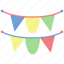 birthday, celebrate, congratulations, flag, garlands, garlands icon, party icon