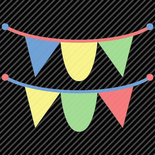 birthday, celebrate, congratulations, flag, garlands, garlands icon, party icon
