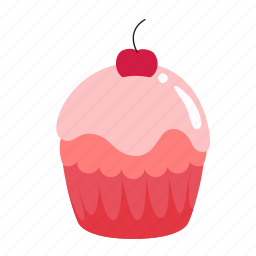 birthday, chery, cupcake, dessert, sweet icon
