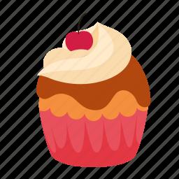 birthday, caramel, chery, cupcake, dessert, sweet icon