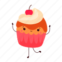 birthday, cartoon, cupcake, dancing, dessert, party, sweet icon