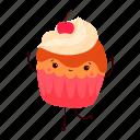 birthday, cartoon, cupcake, dancing, dessert, party, sweet icon