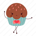 chocolate, cupcake, dancing, dessert, face, party, sweet icon
