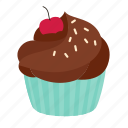 birthday, chocolate, crumble, cupcake, dessert, sweet icon