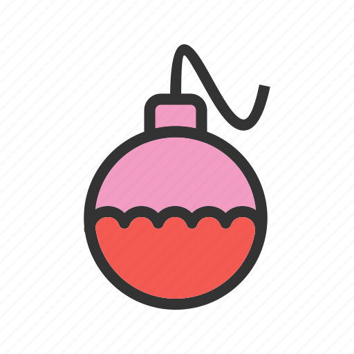 ball, birthday, card, celebration, decoration, ornament, red icon