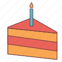 cake, cake piece, candle, kids cake, pastry, piece icon