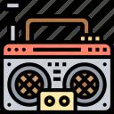 cassette, player, vintage, radio, stereo