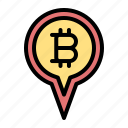 bitcoin, location, map, pin, cryptocurrency