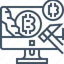 bitcoin, currency, desktop, digital, mining, payment, pickaxe icon
