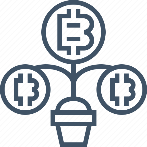 bitcoin, cash, coin, currency, digital, growing, money icon