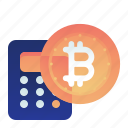 bitcoin, calculation, calculator, currency, finance icon