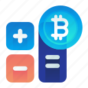 bitcoin, calculation, currency, finance, money icon