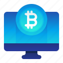 bitcoin, computer, currency, desktop, finance, money icon