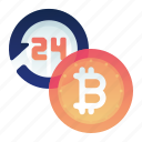bitcoin, exchange, full, time icon