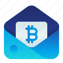 bitcoin, currency, email, finance, money icon