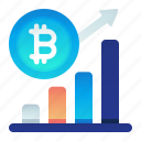 bitcoin, chart, finance, increase, value icon