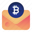bitcoin, currency, finance, mail, money icon