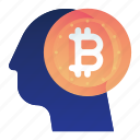 bitcoin, currency, finance, minded, thought icon