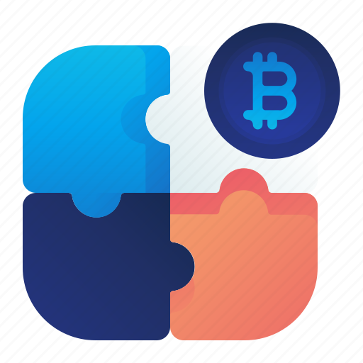 bitcoin, currency, finance, money, puzzle icon