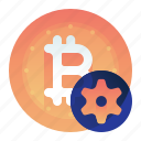 bitcoin, currency, finance, money, settings icon