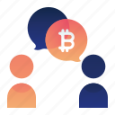 bitcoin, currency, finance, money, talk icon