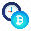 bitcoin, currency, estimation, finance, time icon