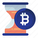 bitcoin, estimation, finance, hourglass, time icon