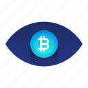bitcoin, currency, eye, monitor, watch icon