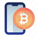 bitcoin, currency, finance, monitor, smartphone icon