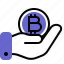 bitcoin, cryptocurrency, gift, give, hand icon
