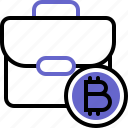 bitcoin, briefcase, cryptocurrency, portfolio, suitcase icon