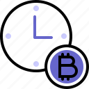 bitcoin, crypto, cryptocurrency, in progress, time, timing, transfer date icon